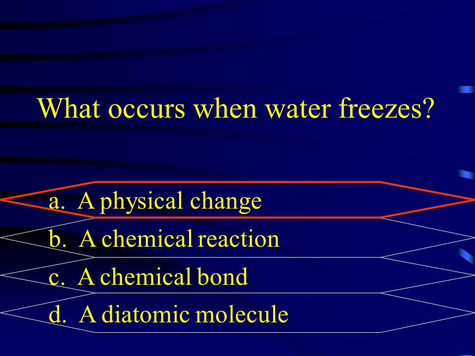 What occurs when water freezes