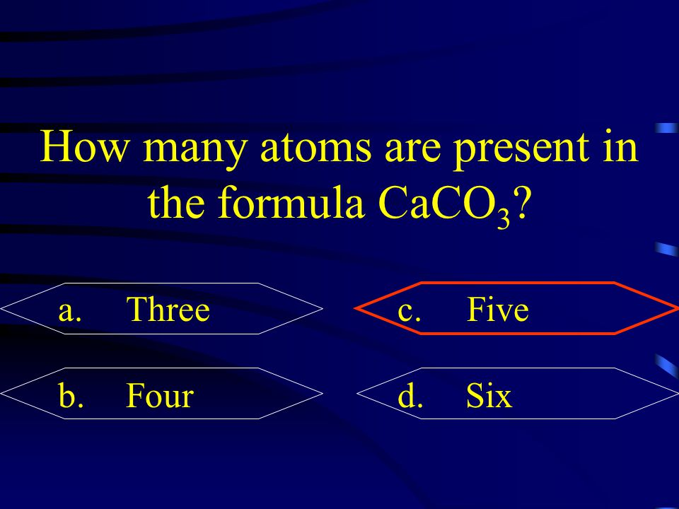 How many atoms are present in the formula CaCO3