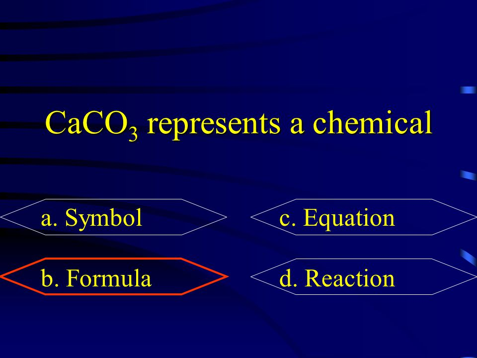 CaCO3 represents a chemical