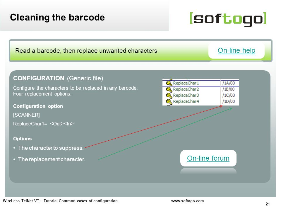 Cleaning the barcode On-line help On-line forum