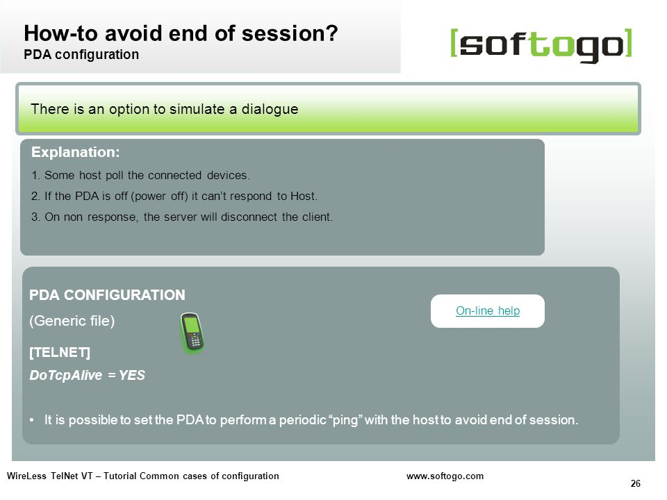 How-to avoid end of session PDA configuration