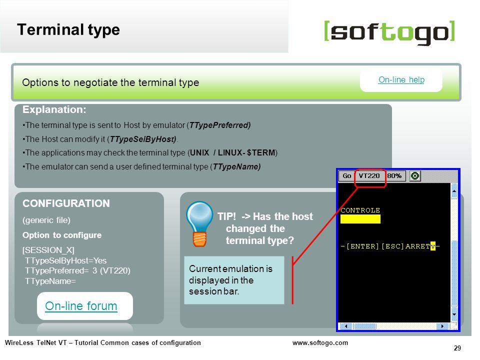 Terminal type On-line forum Options to negotiate the terminal type