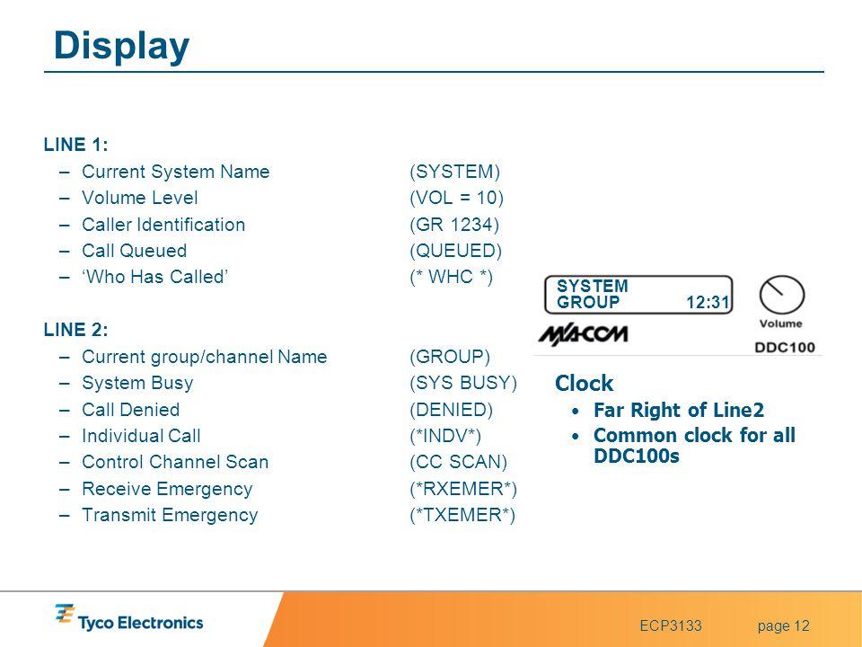 Display Clock LINE 1: Current System Name (SYSTEM)