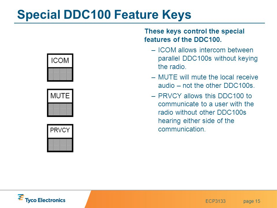 Special DDC100 Feature Keys