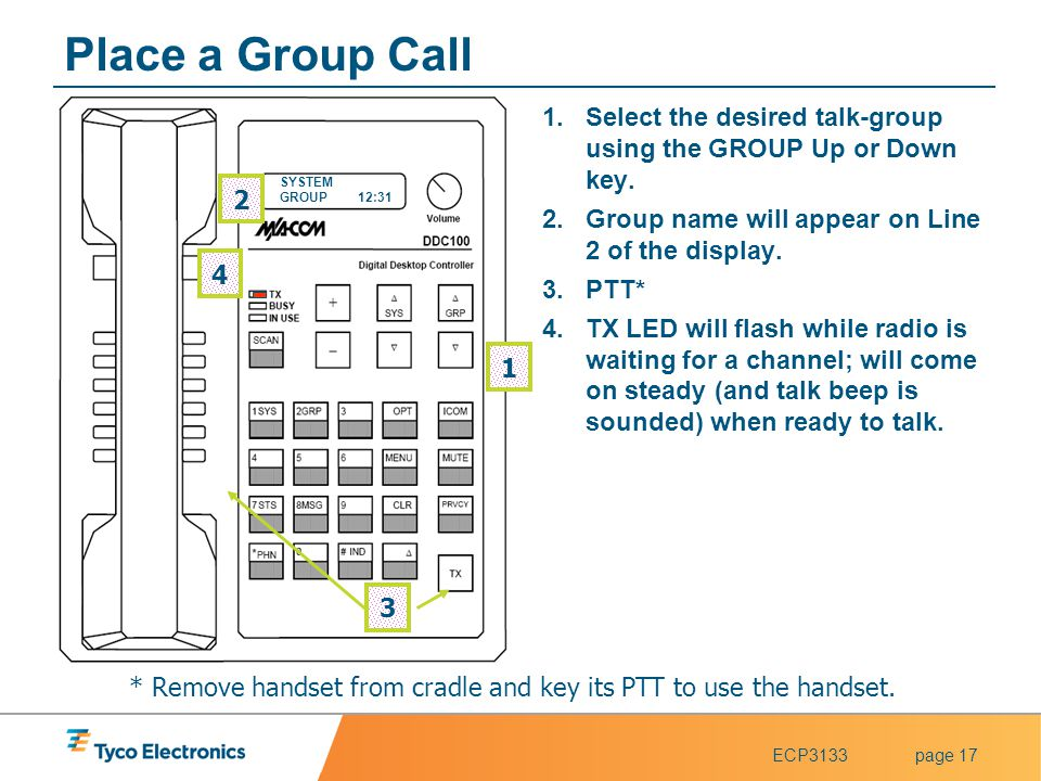 * Remove handset from cradle and key its PTT to use the handset.