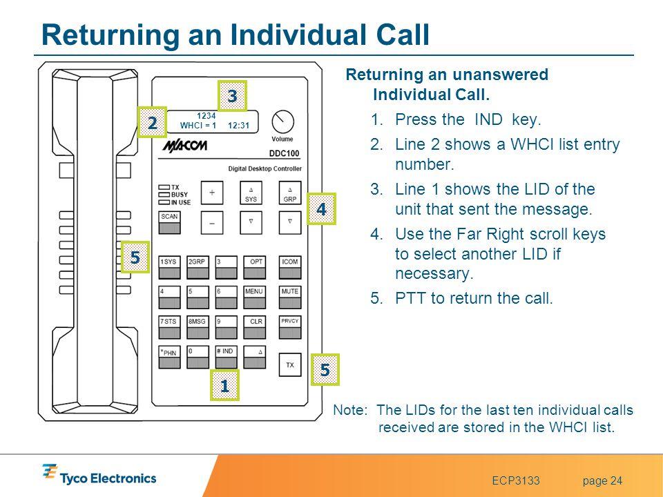 Returning an Individual Call