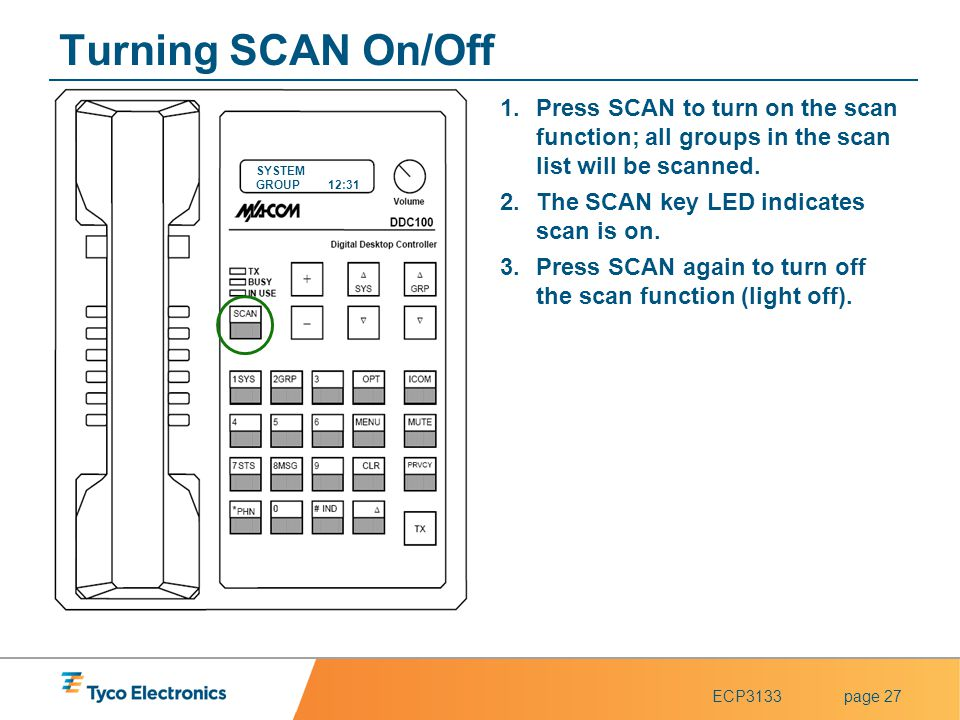 Turning SCAN On/Off Press SCAN to turn on the scan function; all groups in the scan list will be scanned.