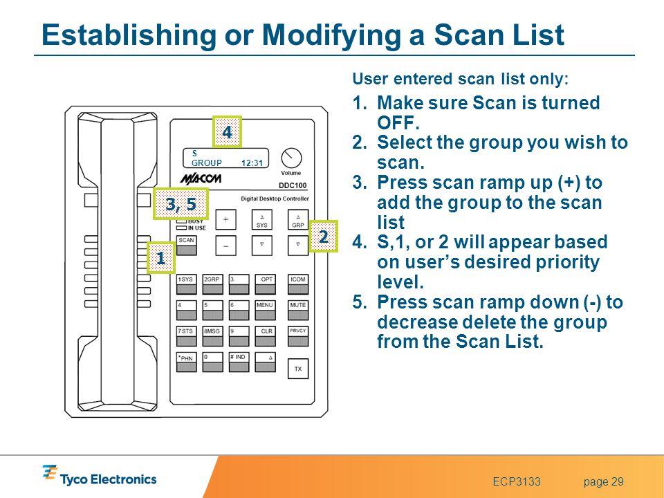 Establishing or Modifying a Scan List