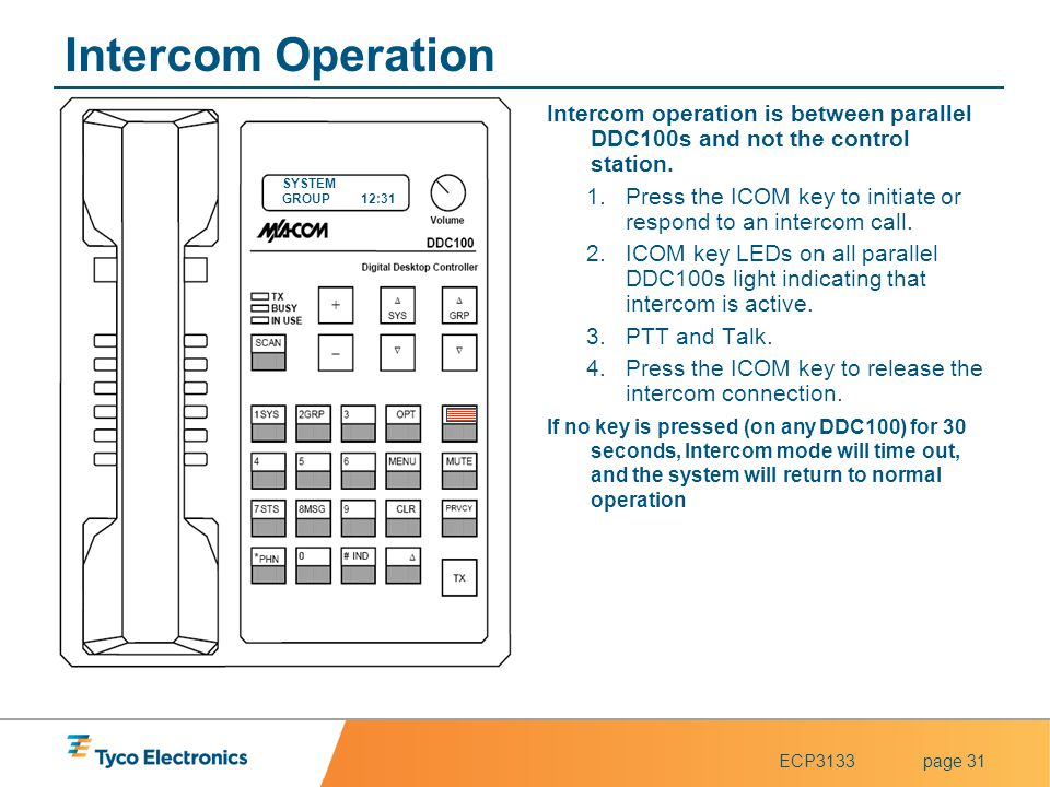 Intercom Operation Intercom operation is between parallel DDC100s and not the control station.