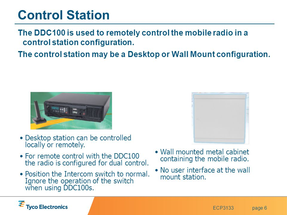 Control Station The DDC100 is used to remotely control the mobile radio in a control station configuration.