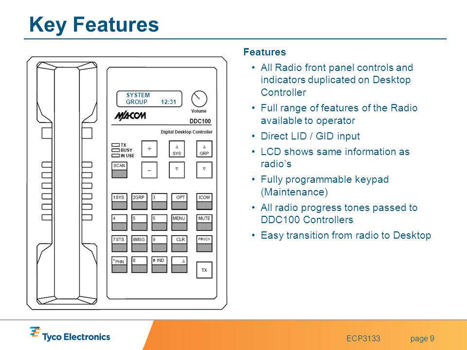 Key Features Features. All Radio front panel controls and indicators duplicated on Desktop Controller.