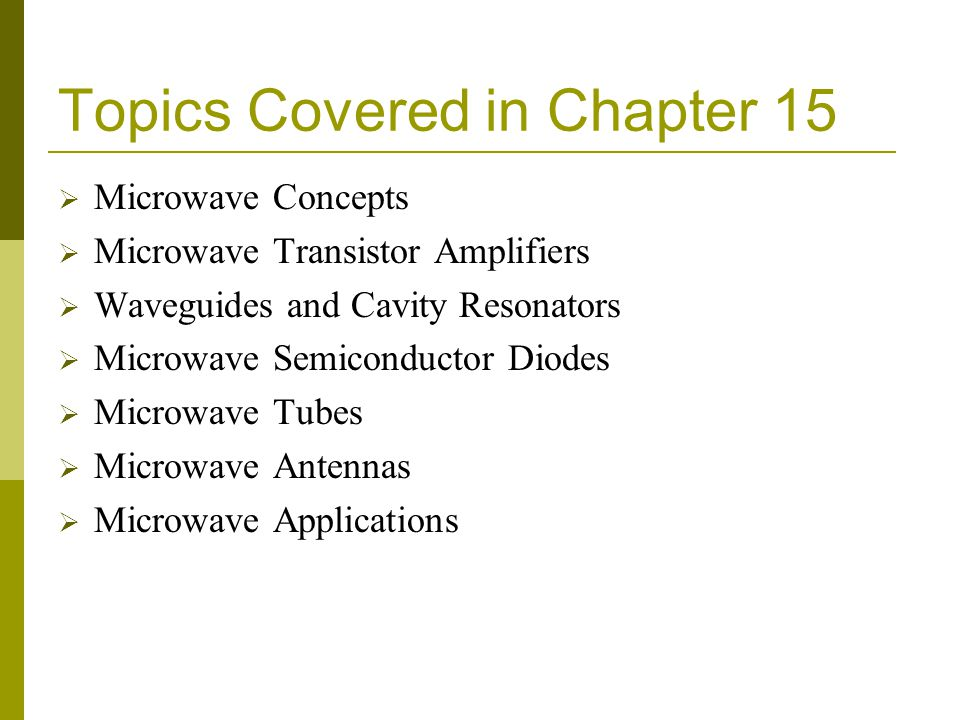 Topics Covered in Chapter 15
