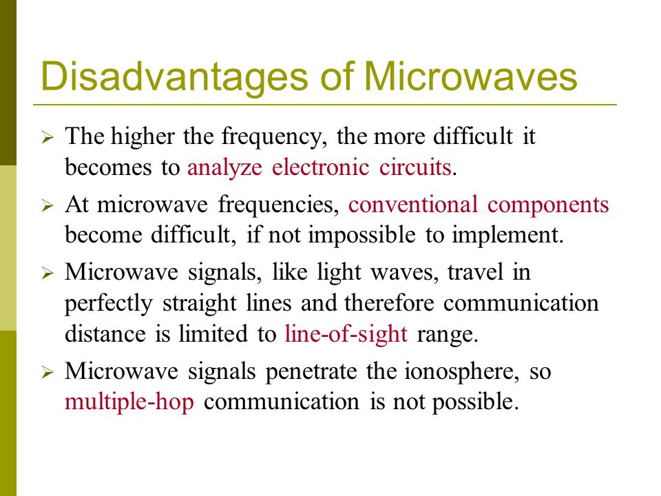 Disadvantages of Microwaves