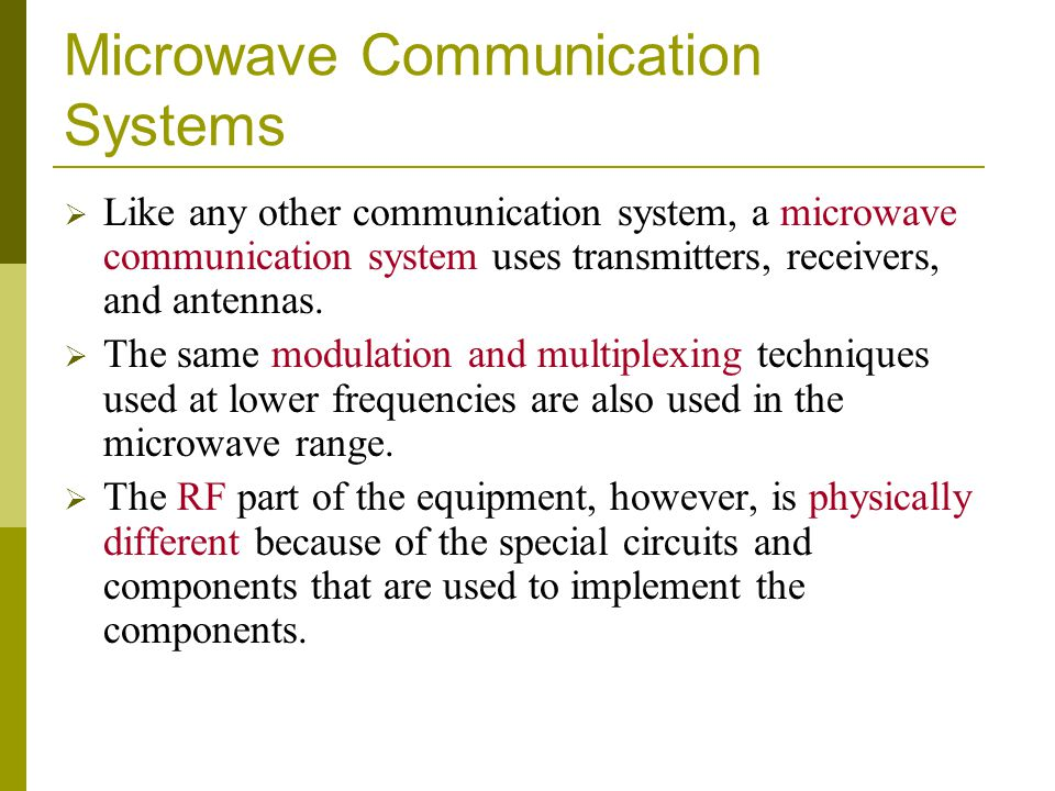 Microwave Communication Systems