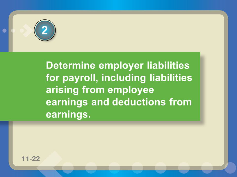 2 Determine employer liabilities for payroll, including liabilities arising from employee earnings and deductions from earnings.