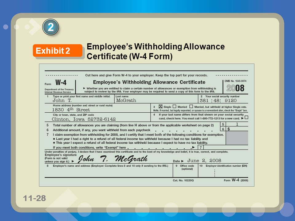 2 Employee's Withholding Allowance Certificate (W-4 Form) Exhibit 2