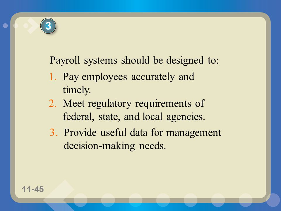 3 Payroll systems should be designed to: Pay employees accurately and timely. Meet regulatory requirements of federal, state, and local agencies.