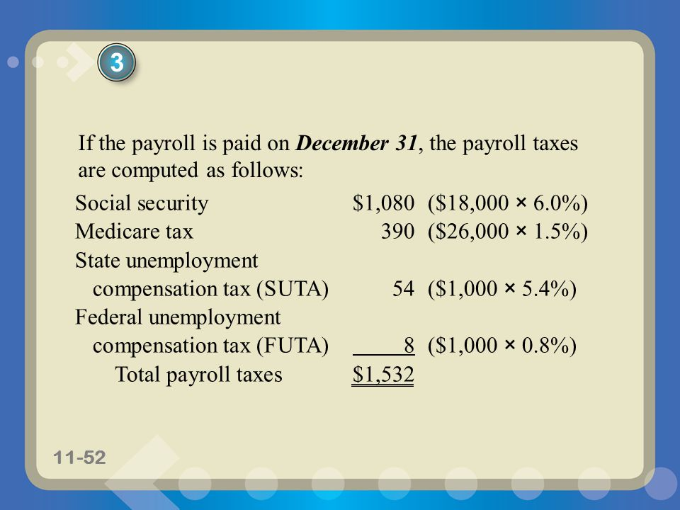 3 If the payroll is paid on December 31, the payroll taxes are computed as follows: Social security $1,080 ($18,000 × 6.0%)