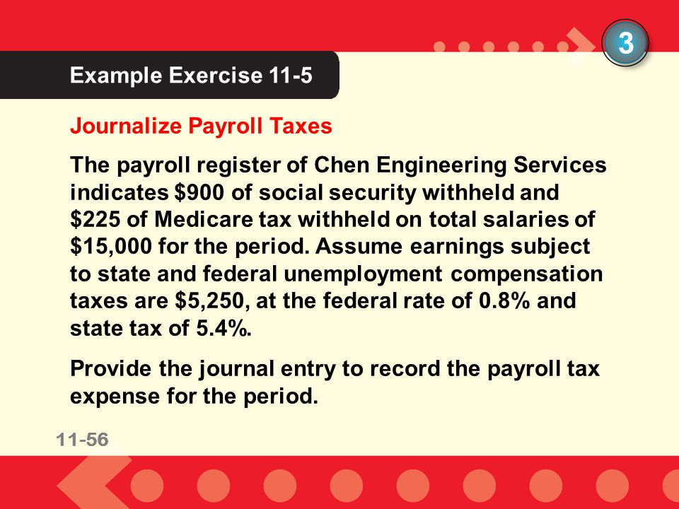 3 Example Exercise 11-5 Journalize Payroll Taxes