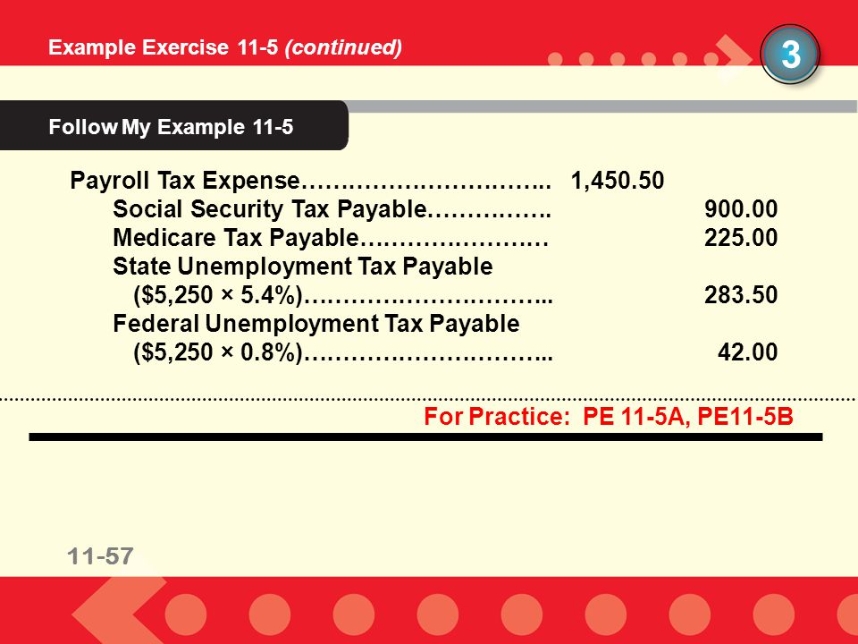 3 Follow My Example 11-5 Payroll Tax Expense………………………….. 1,450.50