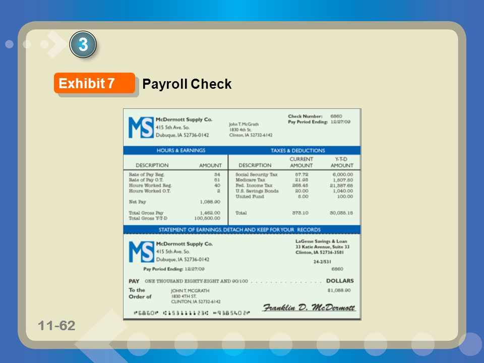 3 Exhibit 7 Payroll Check