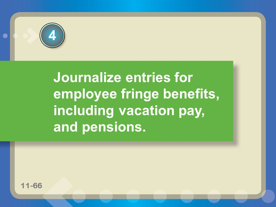 4 Journalize entries for employee fringe benefits, including vacation pay, and pensions. 11-66