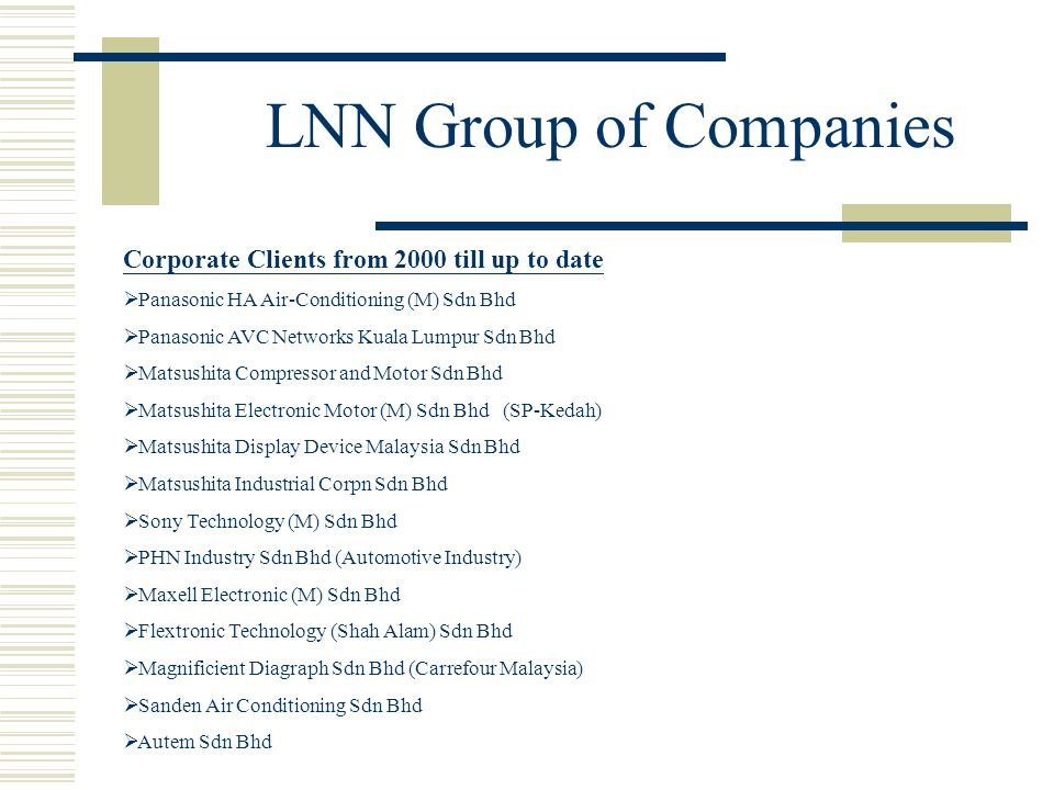 LNN Group of Companies Corporate Clients from 2000 till up to date