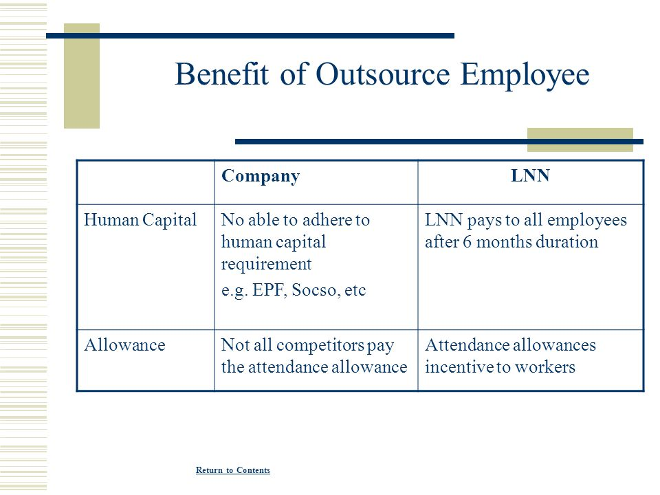 Benefit of Outsource Employee