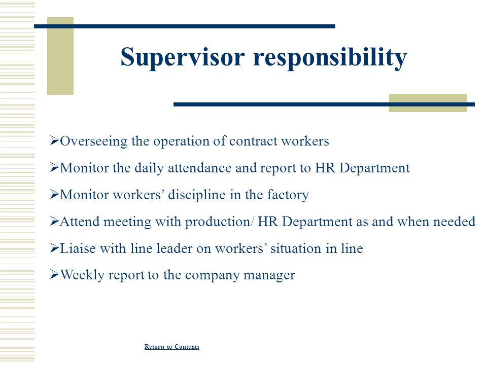 Supervisor responsibility