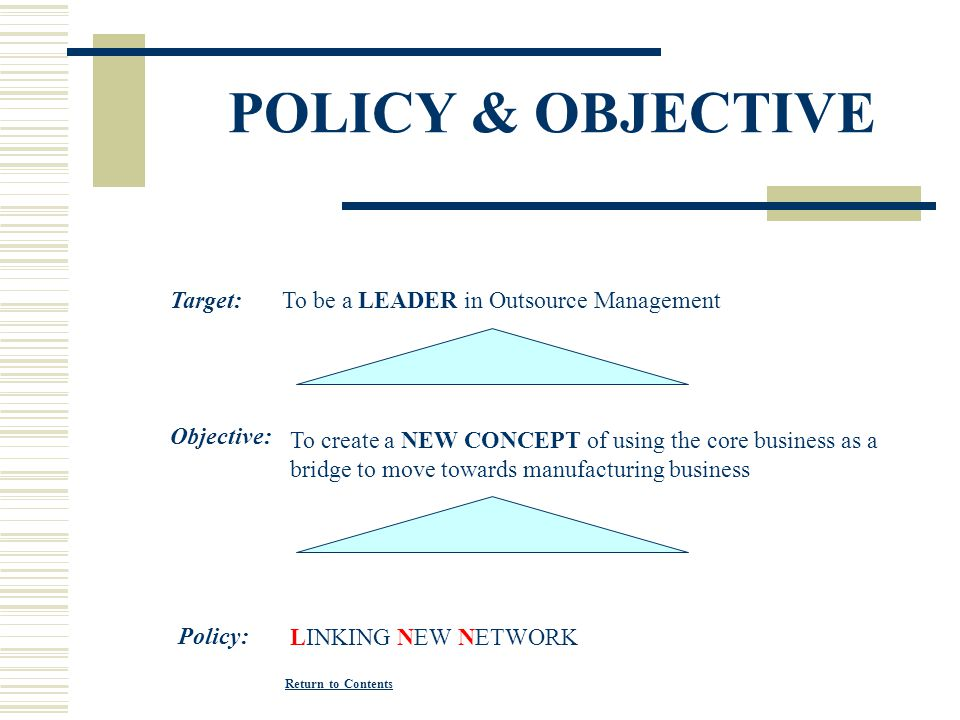 POLICY & OBJECTIVE Target: To be a LEADER in Outsource Management