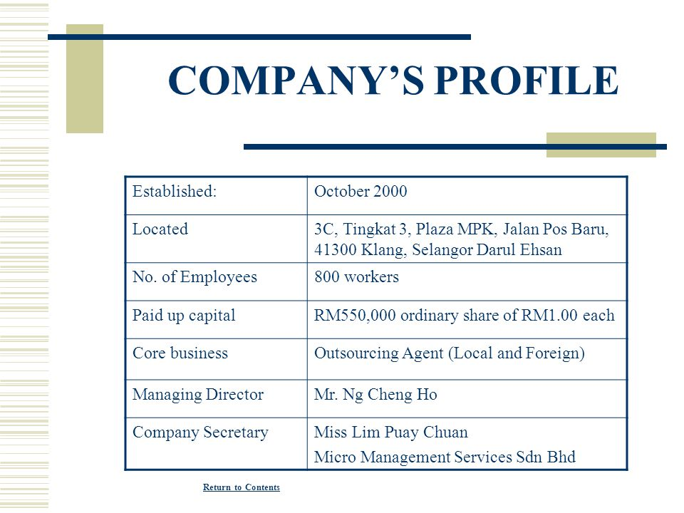 COMPANY'S PROFILE Established: October 2000 Located