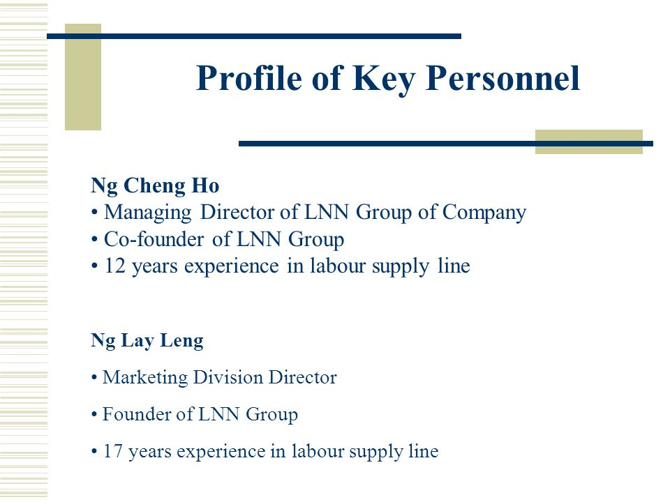 Profile of Key Personnel