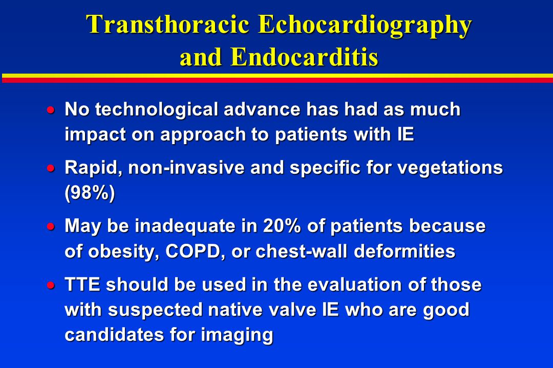 Transthoracic Echocardiography and Endocarditis