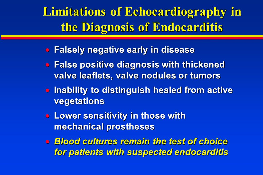 Limitations of Echocardiography in the Diagnosis of Endocarditis