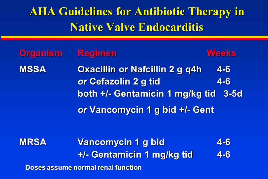 AHA Guidelines for Antibiotic Therapy in Native Valve Endocarditis