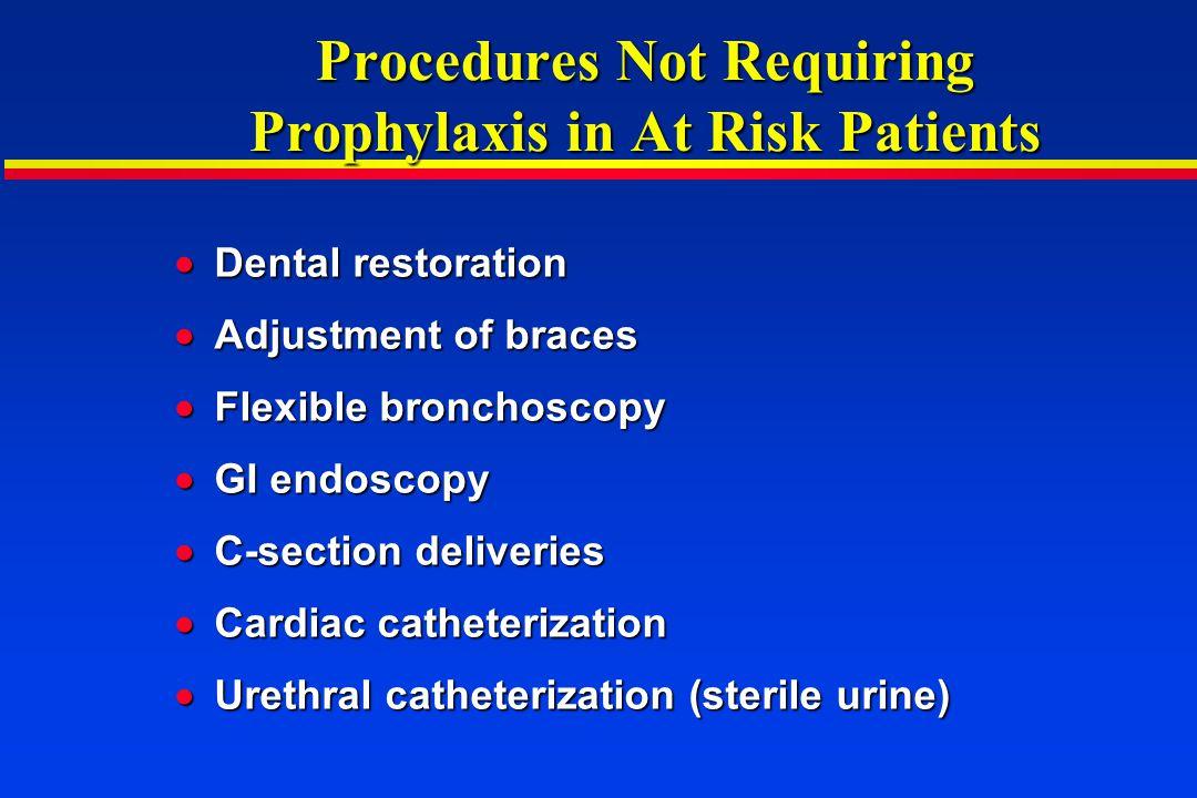 Procedures Not Requiring Prophylaxis in At Risk Patients
