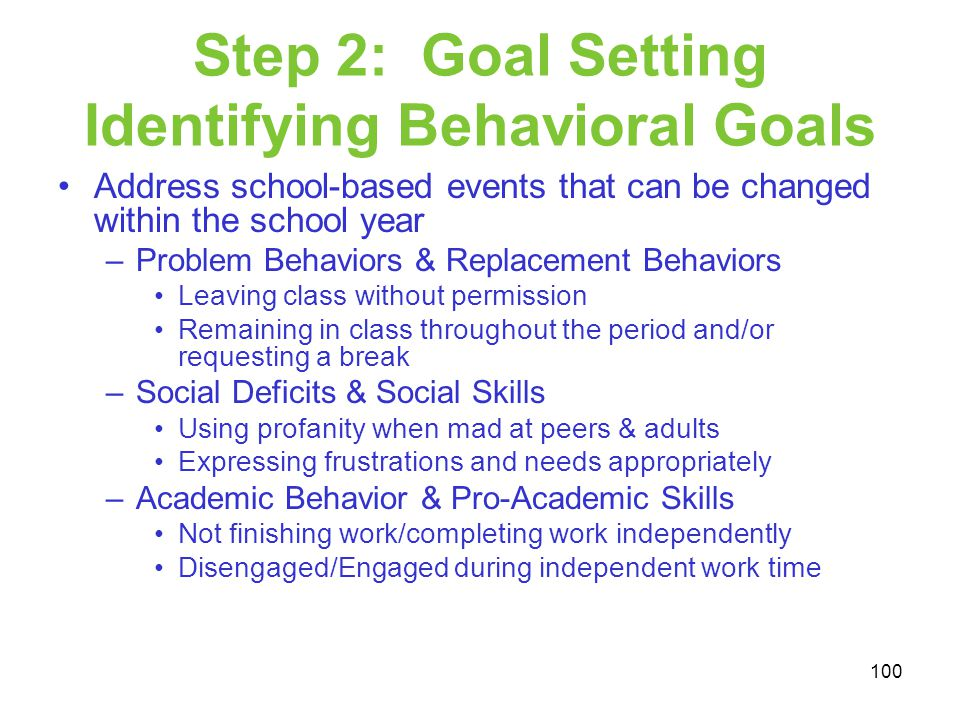 Step 2: Goal Setting Identifying Behavioral Goals