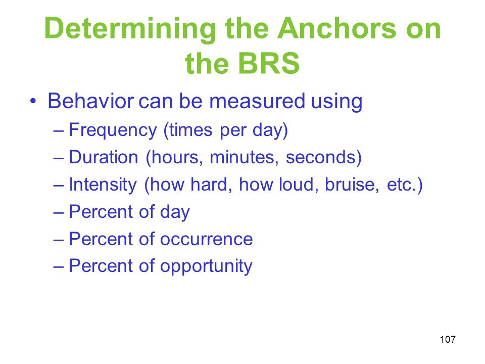 Determining the Anchors on the BRS
