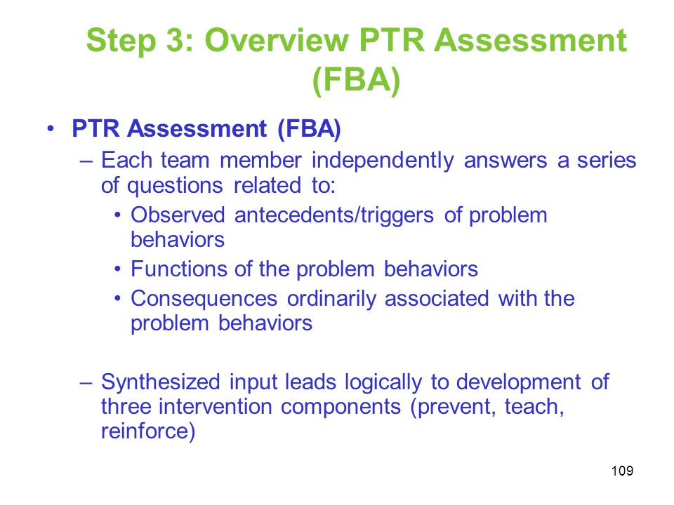 Step 3: Overview PTR Assessment (FBA)