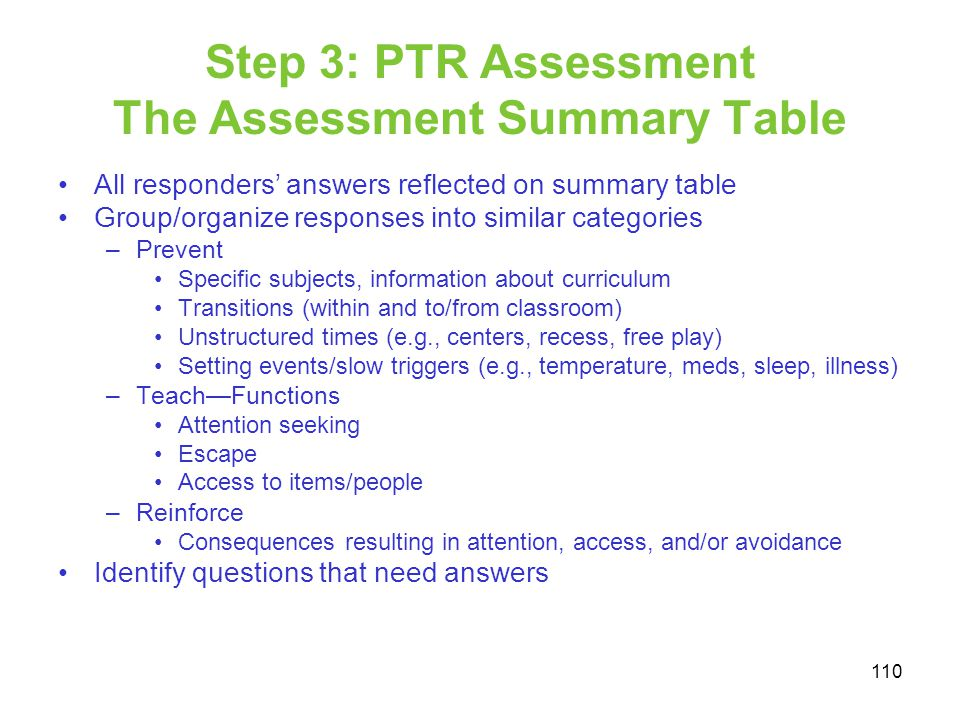 Step 3: PTR Assessment The Assessment Summary Table