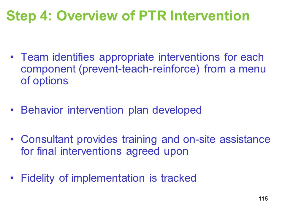 Step 4: Overview of PTR Intervention