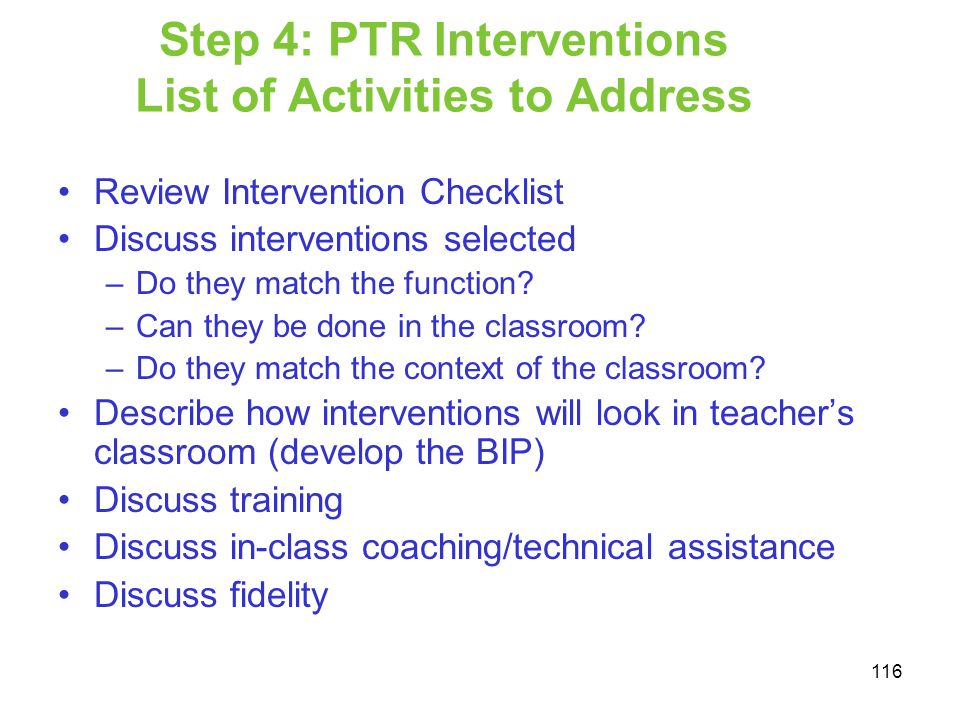 Step 4: PTR Interventions List of Activities to Address