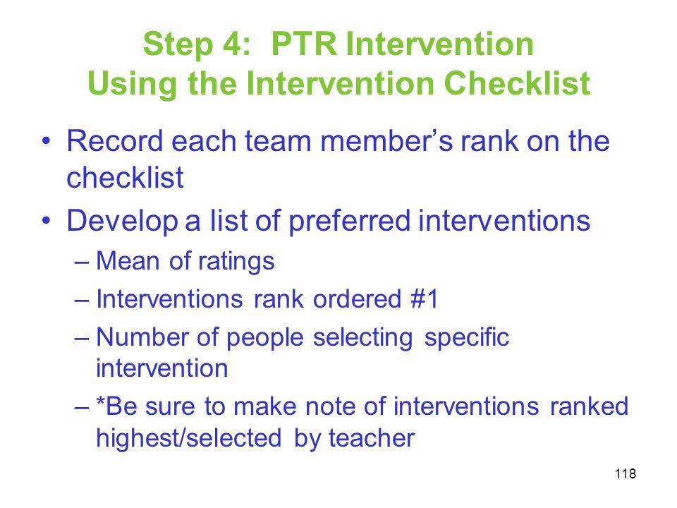 Step 4: PTR Intervention Using the Intervention Checklist