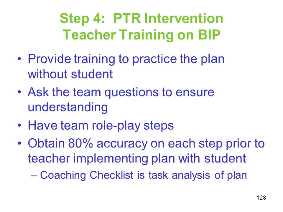 Step 4: PTR Intervention Teacher Training on BIP