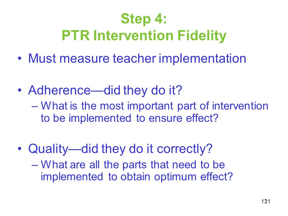 Step 4: PTR Intervention Fidelity