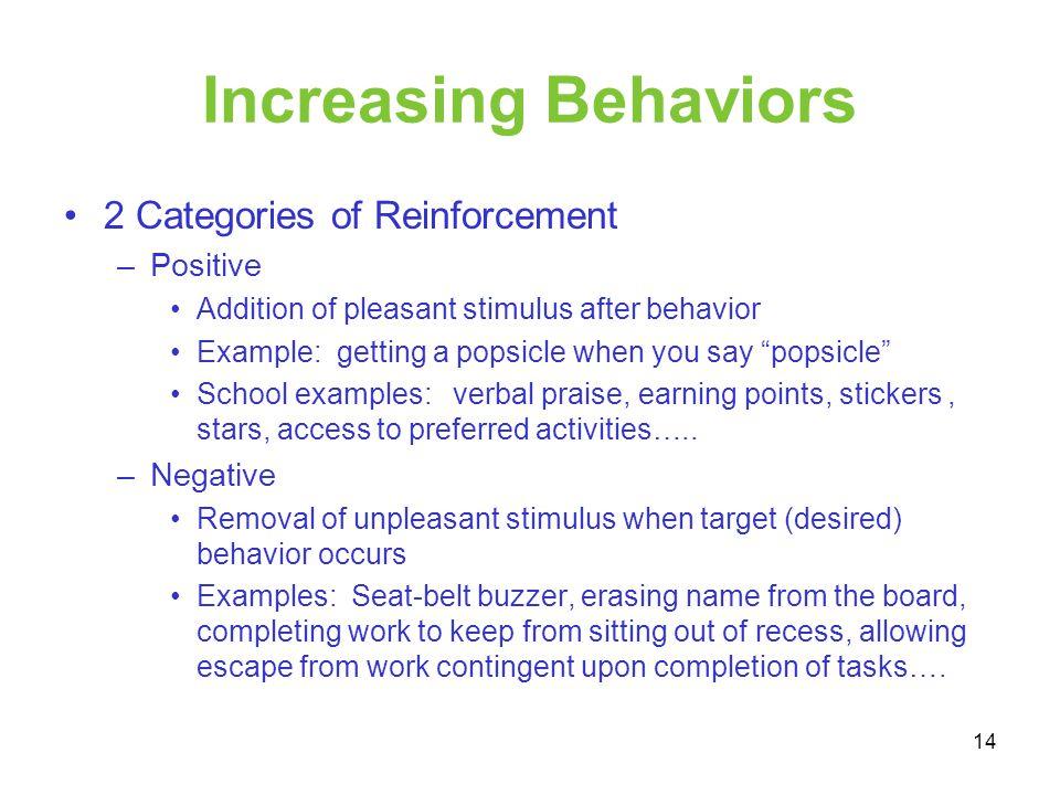 Increasing Behaviors 2 Categories of Reinforcement Positive Negative