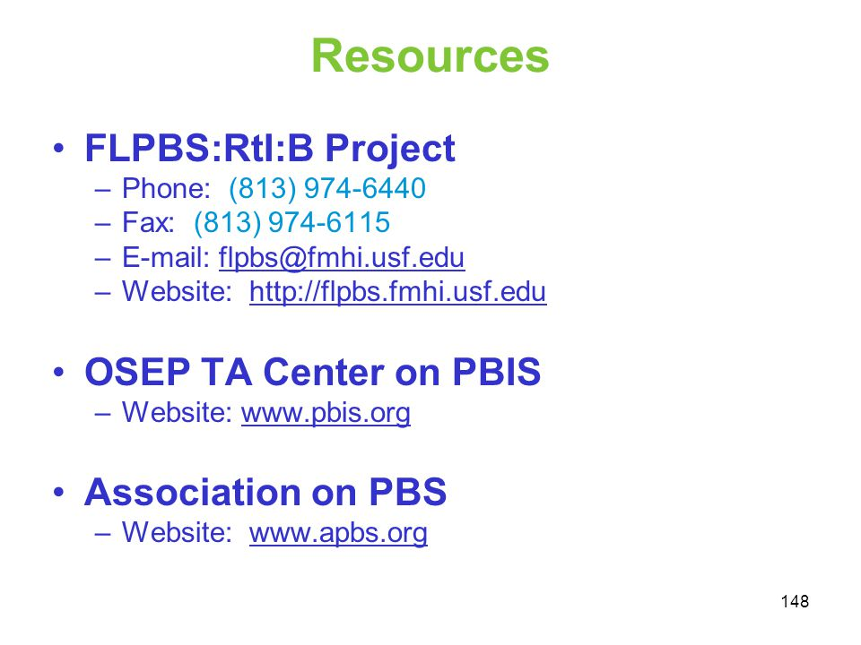 Resources FLPBS:RtI:B Project OSEP TA Center on PBIS