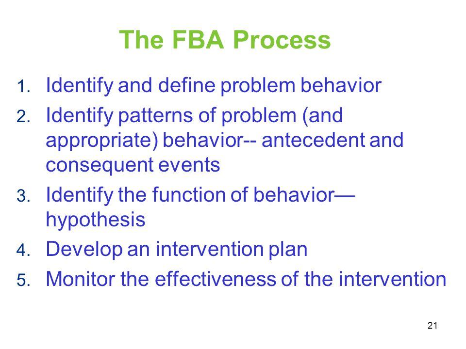 The FBA Process Identify and define problem behavior