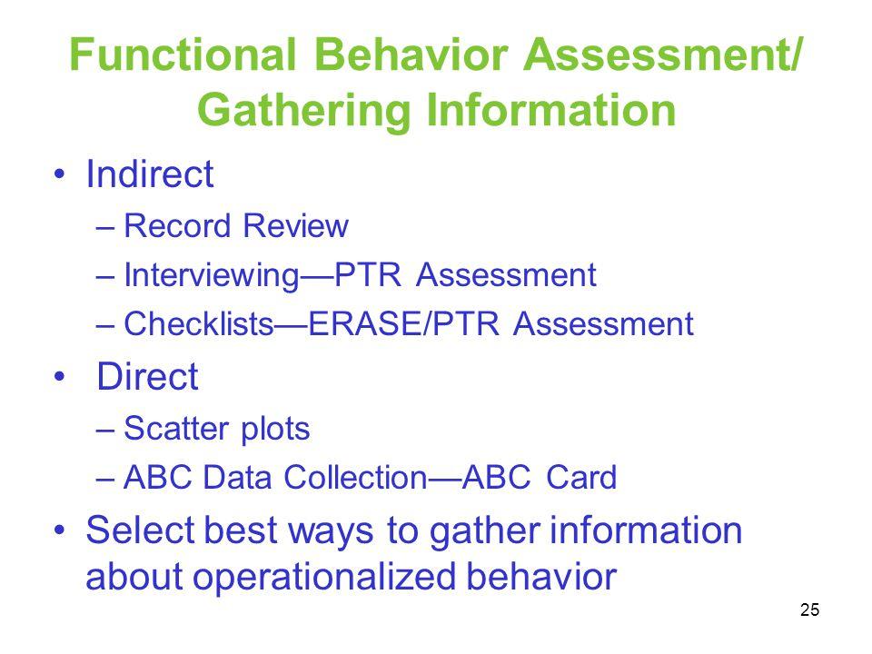 Functional Behavior Assessment/ Gathering Information