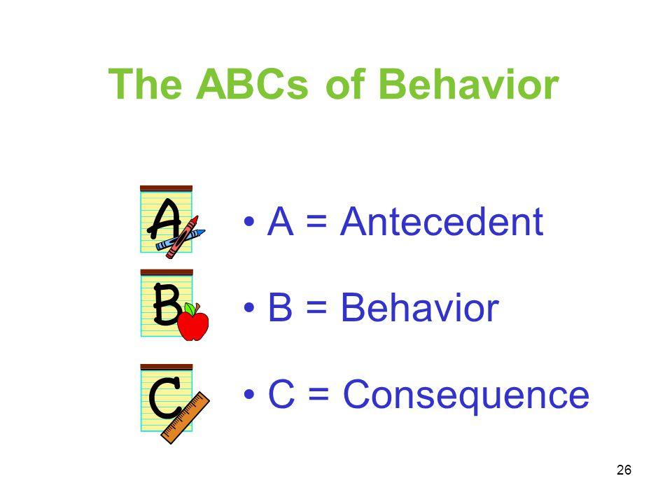 The ABCs of Behavior A = Antecedent B = Behavior C = Consequence